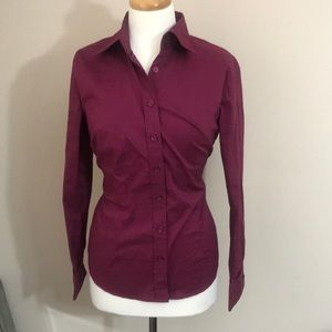 New York and Co Burgundy Button down top M